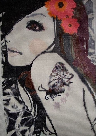 girl cross stitch tattoo