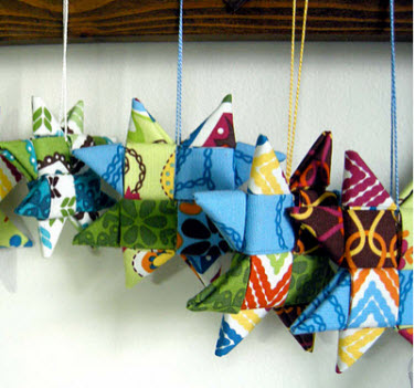Folded Star Christmas Fabric Ornament Pattern, Free Folded Quilted