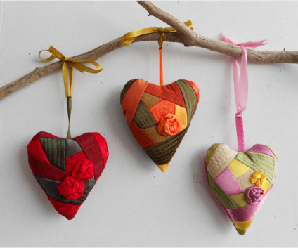 patchwork hearts set of 3